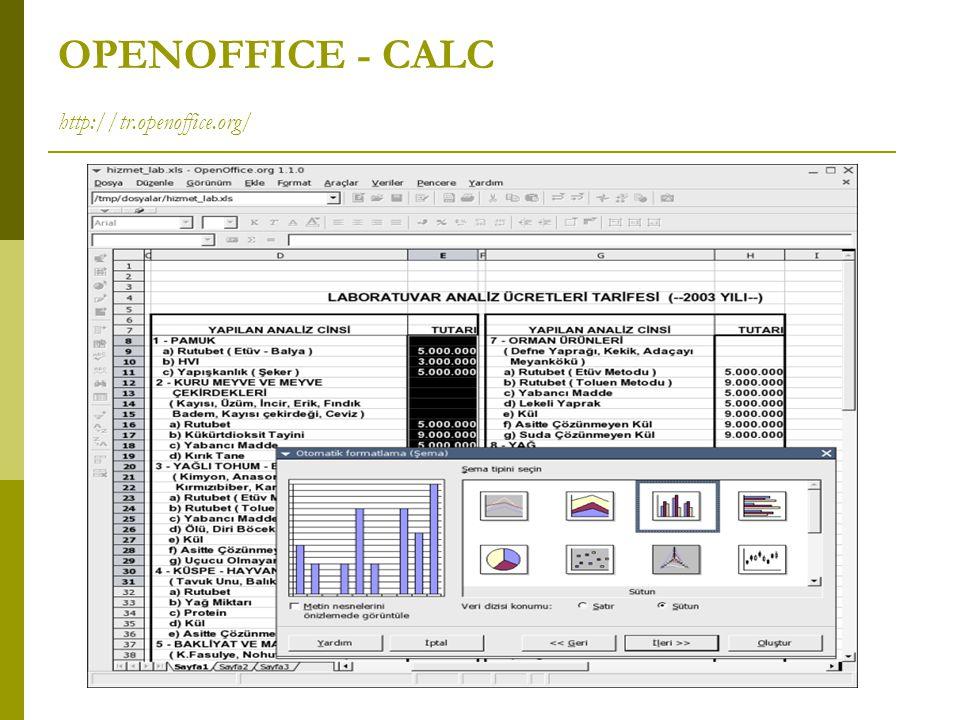 OPENOFFICE - CALC http://tr.openoffice.org/