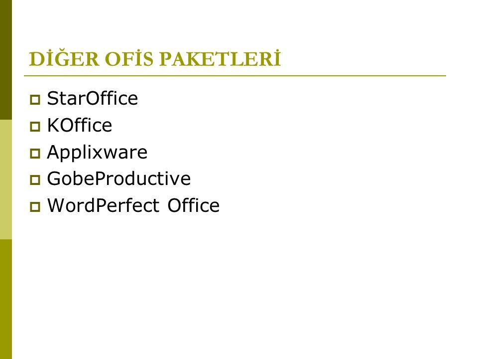 DİĞER OFİS PAKETLERİ  StarOffice  KOffice  Applixware  GobeProductive  WordPerfect Office