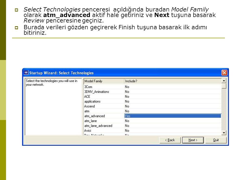  Select Technologies penceresi açıldığında buradan Model Family olarak atm_advanced aktif hale getiriniz ve Next tuşuna basarak Review penceresine geçiniz.