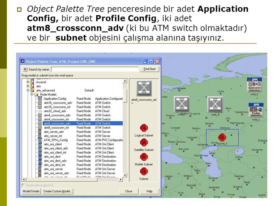  Object Palette Tree penceresinde bir adet Application Config, bir adet Profile Config, iki adet atm8_crossconn_adv (ki bu ATM switch olmaktadır) ve bir subnet objesini çalışma alanına taşıyınız.