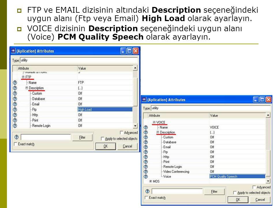  FTP ve EMAIL dizisinin altındaki Description seçeneğindeki uygun alanı (Ftp veya Email) High Load olarak ayarlayın.