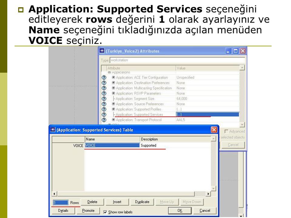  Application: Supported Services seçeneğini editleyerek rows değerini 1 olarak ayarlayınız ve Name seçeneğini tıkladığınızda açılan menüden VOICE seçiniz.