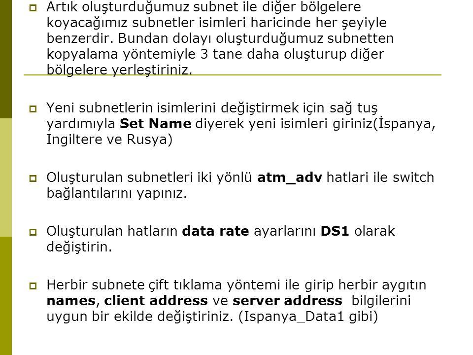  Artık oluşturduğumuz subnet ile diğer bölgelere koyacağımız subnetler isimleri haricinde her şeyiyle benzerdir.