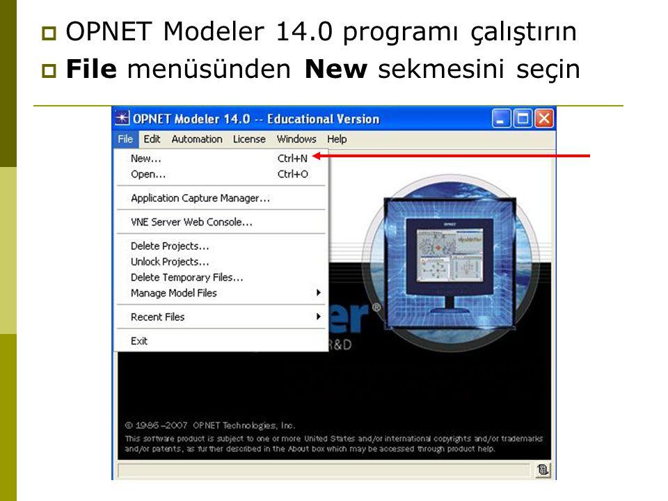  OPNET Modeler 14.0 programı çalıştırın  File menüsünden New sekmesini seçin