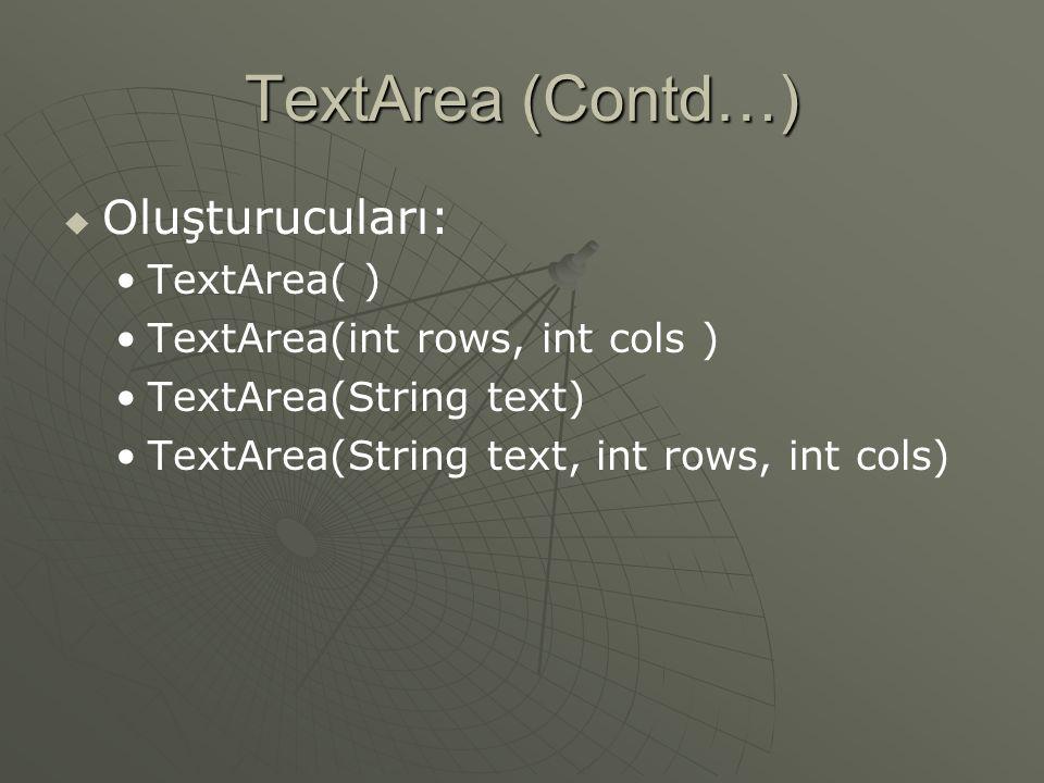 TextArea  Metinin iki veya daha fazla satır olarak alınacağı durumlarda kullanılır  Çok satırlı özelliğe sahip, düzenlenebilen bir alandır.
