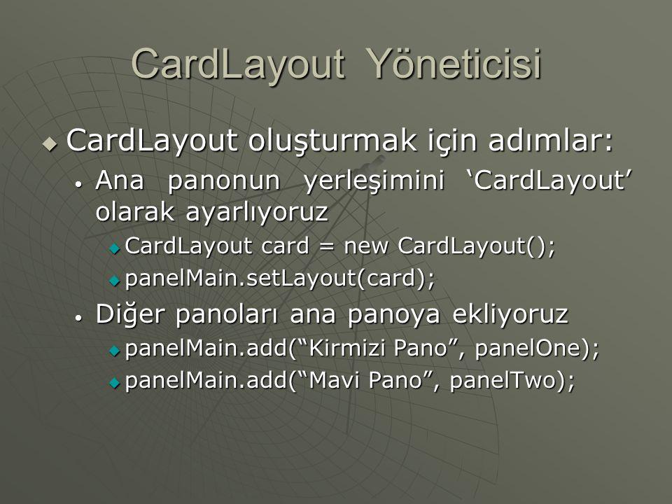 CardLayout Yöneticisi  Farklı yerşelimlerden oluşan yığın tutabilir  Her yerleşim, destedeki bir kart gibidir.
