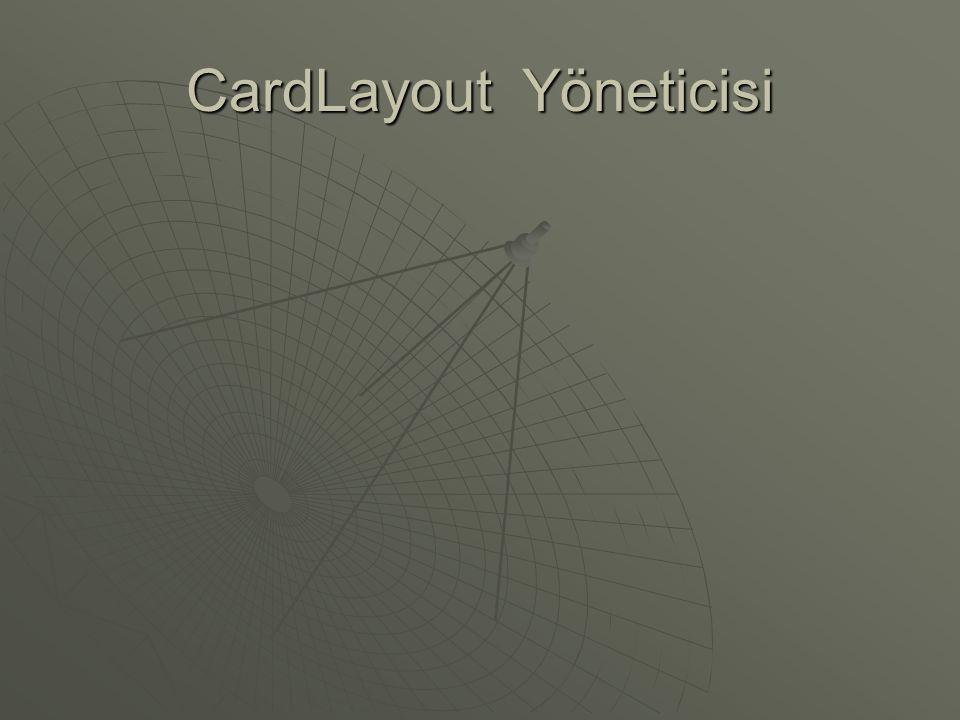 CardLayout Yöneticisi  CardLayout oluşturmak için adımlar: • Ana panonun yerleşimini 'CardLayout' olarak ayarlıyoruz  CardLayout card = new CardLayout();  panelMain.setLayout(card); • Diğer panoları ana panoya ekliyoruz  panelMain.add( Kirmizi Pano , panelOne);  panelMain.add( Mavi Pano , panelTwo);