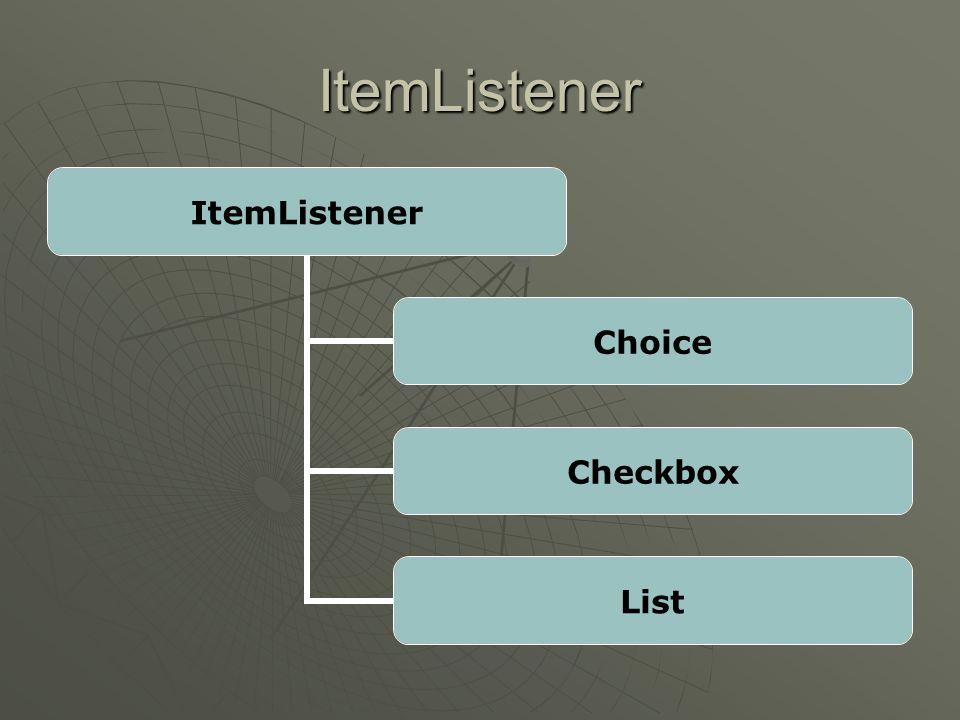 ActionListener ActionListener Button List MenuItem TextField