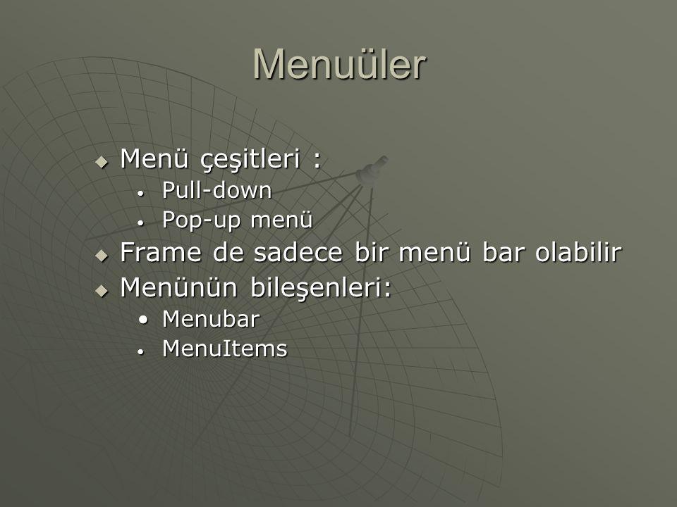 Component Sınıfının Dinleyicileri Component ComponentListener FocusListener KeyListener MouseListener MouseMotionListener