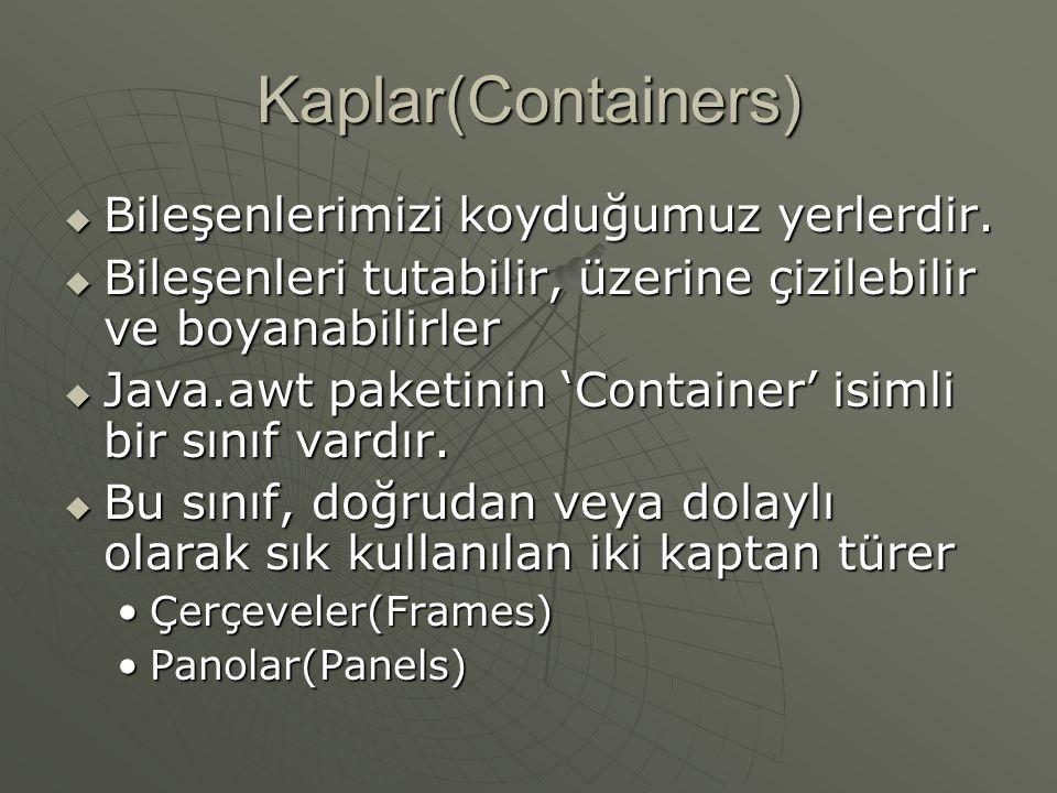 Kaplar(Containers)  Bileşenlerimizi koyduğumuz yerlerdir.