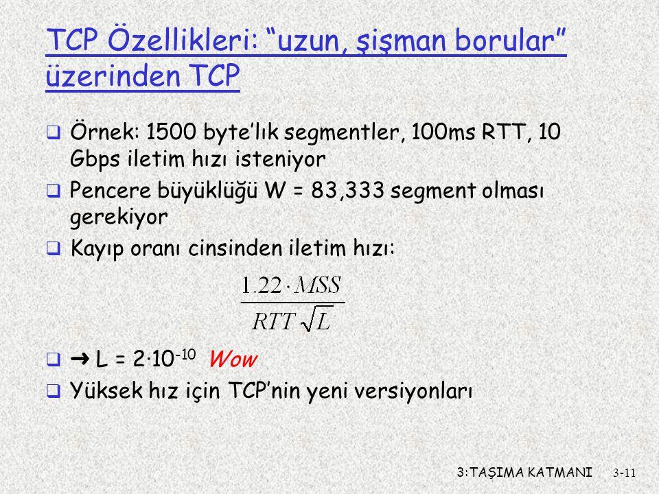 """3:TAŞIMA KATMANI3-11 TCP Özellikleri: """"uzun, şişman borular"""" üzerinden TCP  Örnek: 1500 byte'lık segmentler, 100ms RTT, 10 Gbps iletim hızı isteniyor"""