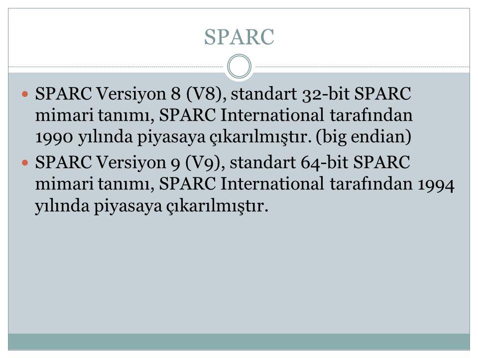 SPARC  SPARC Versiyon 8 (V8), standart 32-bit SPARC mimari tanımı, SPARC International tarafından 1990 yılında piyasaya çıkarılmıştır. (big endian) 
