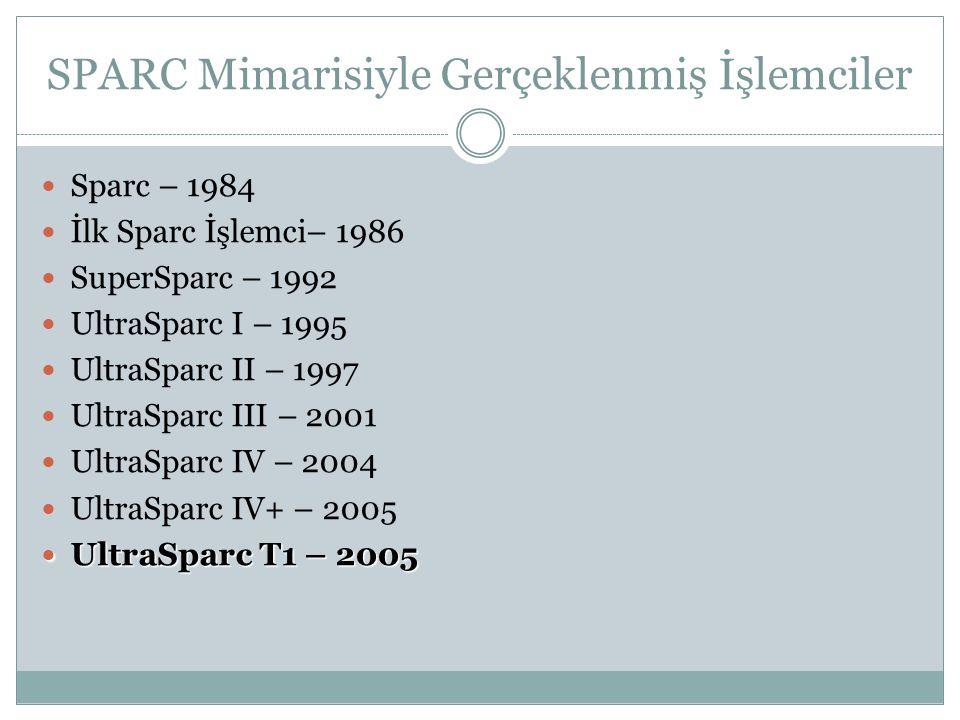 SPARC Mimarisiyle Gerçeklenmiş İşlemciler  Sparc – 1984  İlk Sparc İşlemci– 1986  SuperSparc – 1992  UltraSparc I – 1995  UltraSparc II – 1997 
