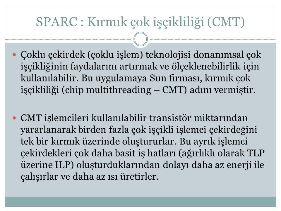 SPARC : Saklayıcılar GenelPencereliTanım %r0 - %r7%g0 - %g7 Global Saklayıcılar (tüm pencelerelerden erişilebilir) %r8 - %r15%o0 - %o7Pencere çıktı saklayıcıları %r16 - %r23%l0 - % l7Pencere yerel saklayıcıları %r24 - %r31%i0 - %i7Pencere girdi saklayıcıları  SPARC, genel saklayıcı yükle-sakla mimarisindedir.