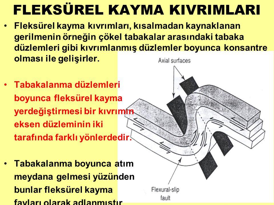 FLEKSÜREL KAYMA KIVRIMLARI •Fleksürel kayma kıvrımları, kısalmadan kaynaklanan gerilmenin örneğin çökel tabakalar arasındaki tabaka düzlemleri gibi kıvrımlanmış düzlemler boyunca konsantre olması ile gelişirler.