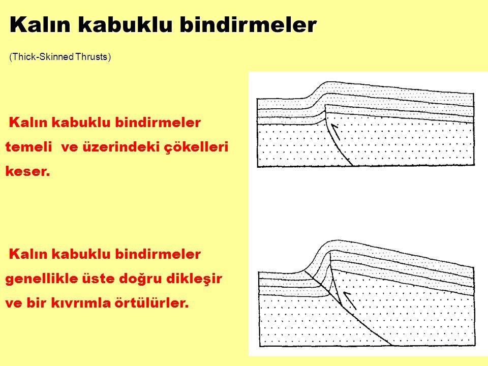 Kalın kabuklu bindirmeler (Thick-Skinned Thrusts) • Kalın kabuklu bindirmeler temeli ve üzerindeki çökelleri keser. • Kalın kabuklu bindirmeler genell