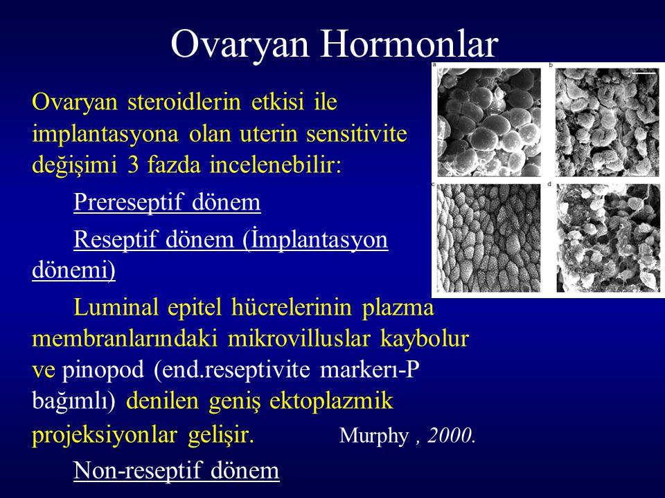 Ovaryan Hormonlar Ovaryan steroidlerin etkisi ile implantasyona olan uterin sensitivite değişimi 3 fazda incelenebilir: Prereseptif dönem Reseptif dön