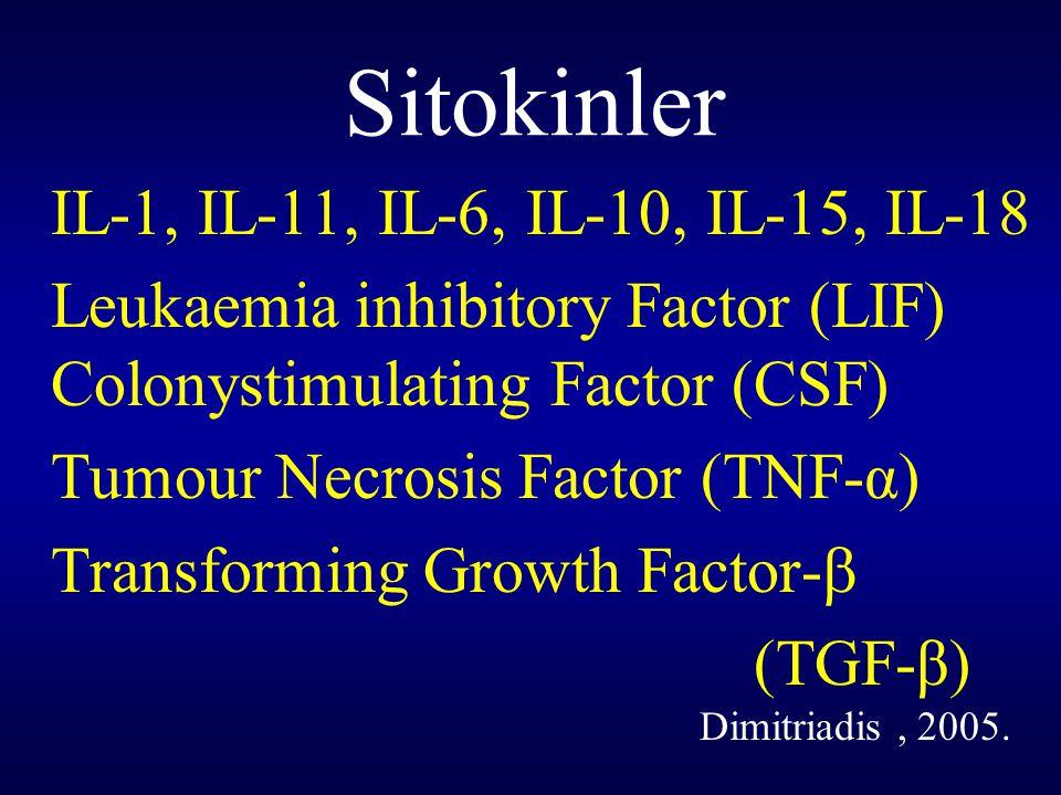 Sitokinler IL-1, IL-11, IL-6, IL-10, IL-15, IL-18 Leukaemia inhibitory Factor (LIF) Colonystimulating Factor (CSF) Tumour Necrosis Factor (TNF-α) Tran