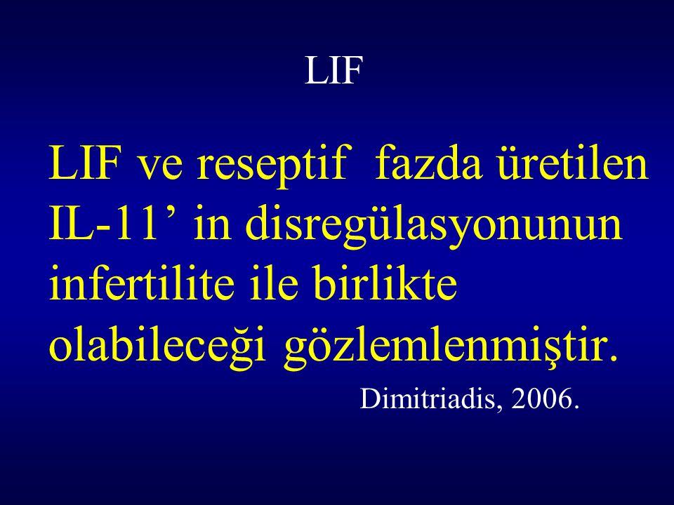 LIF LIF ve reseptif fazda üretilen IL-11' in disregülasyonunun infertilite ile birlikte olabileceği gözlemlenmiştir. Dimitriadis, 2006.