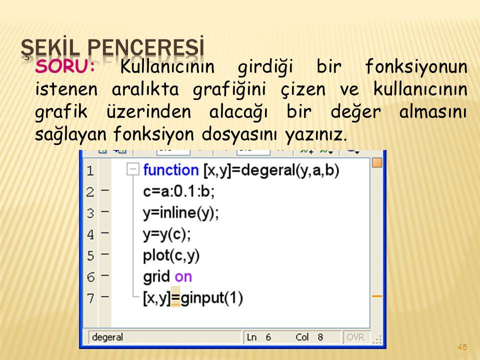 45 SORU: Kullanıcının girdiği bir fonksiyonun istenen aralıkta grafiğini çizen ve kullanıcının grafik üzerinden alacağı bir değer almasını sağlayan fonksiyon dosyasını yazınız.