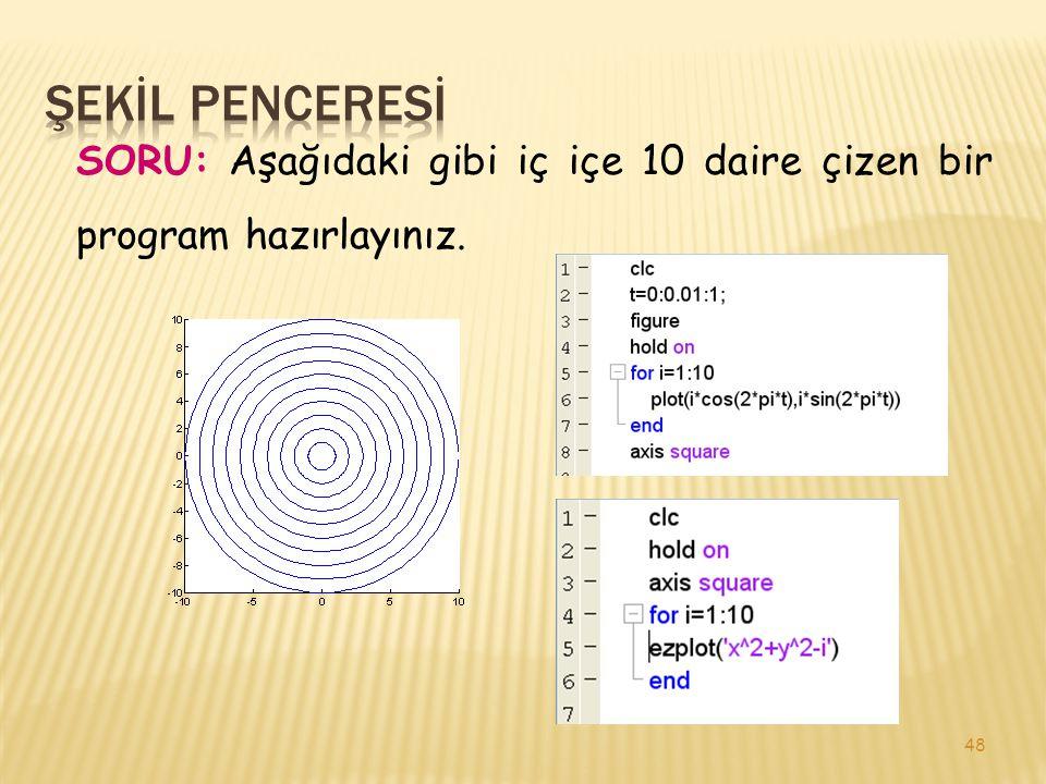 48 SORU: Aşağıdaki gibi iç içe 10 daire çizen bir program hazırlayınız.