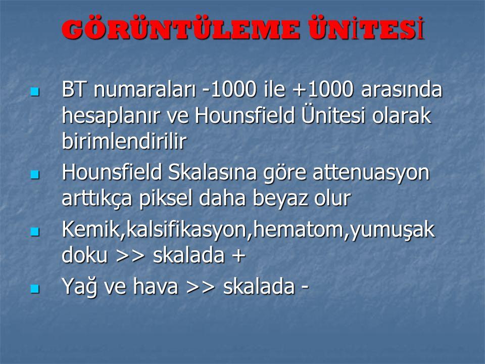 GÖRÜNTÜLEME ÜN İ TES İ  BT numaraları -1000 ile +1000 arasında hesaplanır ve Hounsfield Ünitesi olarak birimlendirilir  Hounsfield Skalasına göre at