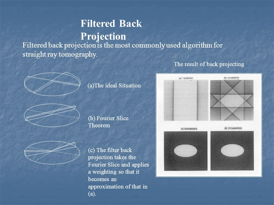 Filtered Back Projection Filtered back projection is the most commonly used algorithm for straight ray tomography. (a)The ideal Situation (b) Fourier