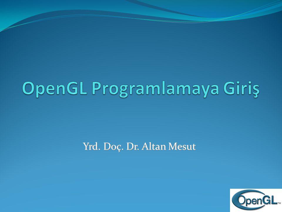 Bir OpenGL Programı (devam) void init( void ) { glClearColor( 0, 0, 0, 1 ); gluLookAt( 2, 2, 2, 0, 0, 0, 0, 1, 0 ); glEnable( GL_DEPTH_TEST ); } void reshape( int width, int height ) { glViewport( 0, 0, width, height ); glMatrixMode( GL_PROJECTION ); glLoadIdentity(); gluPerspective( 60, (GLfloat) width / height, 1.0, 10.0 ); glMatrixMode( GL_MODELVIEW ); } Kullanıcı pencere boyutunu değiştirdiğinde kullanılır.