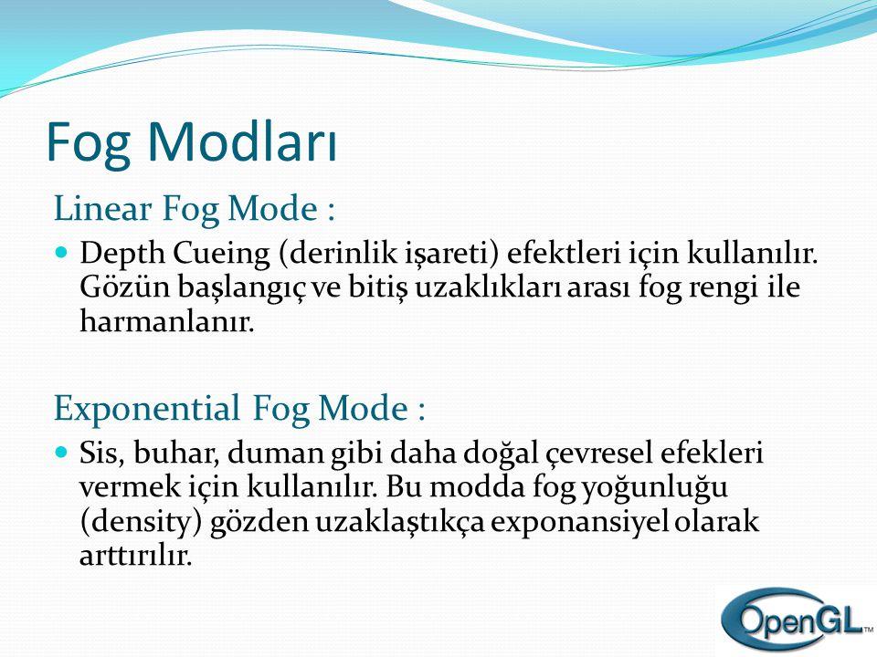 Fog Modları Linear Fog Mode :  Depth Cueing (derinlik işareti) efektleri için kullanılır. Gözün başlangıç ve bitiş uzaklıkları arası fog rengi ile ha