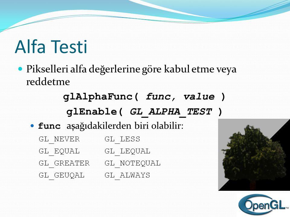 Alfa Testi  Pikselleri alfa değerlerine göre kabul etme veya reddetme glAlphaFunc( func, value ) glEnable( GL_ALPHA_TEST )  func aşağıdakilerden bir
