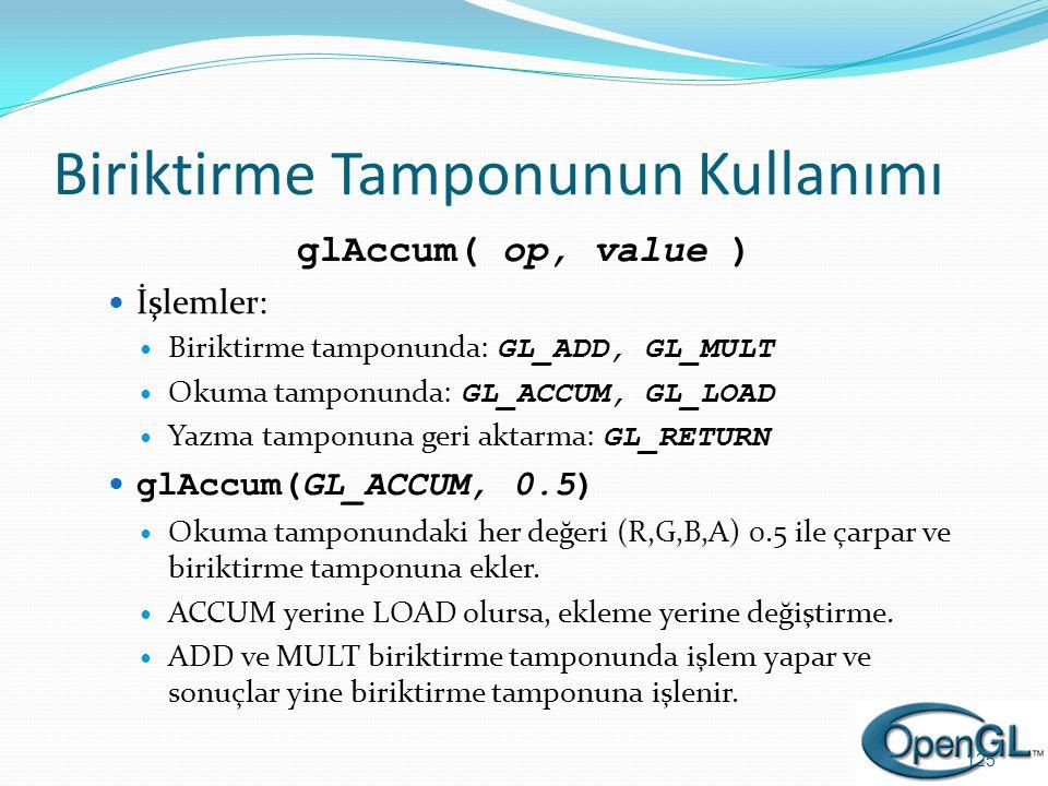 Biriktirme Tamponunun Kullanımı glAccum( op, value )  İşlemler:  Biriktirme tamponunda: GL_ADD, GL_MULT  Okuma tamponunda: GL_ACCUM, GL_LOAD  Yazm