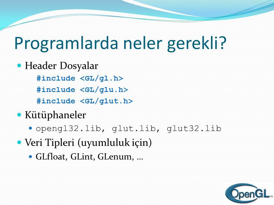 Programlarda neler gerekli?  Header Dosyalar #include  Kütüphaneler  opengl32.lib, glut.lib, glut32.lib  Veri Tipleri (uyumluluk için)  GLfloat,