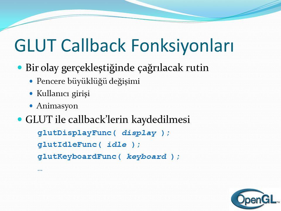 GLUT Callback Fonksiyonları  Bir olay gerçekleştiğinde çağrılacak rutin  Pencere büyüklüğü değişimi  Kullanıcı girişi  Animasyon  GLUT ile callba