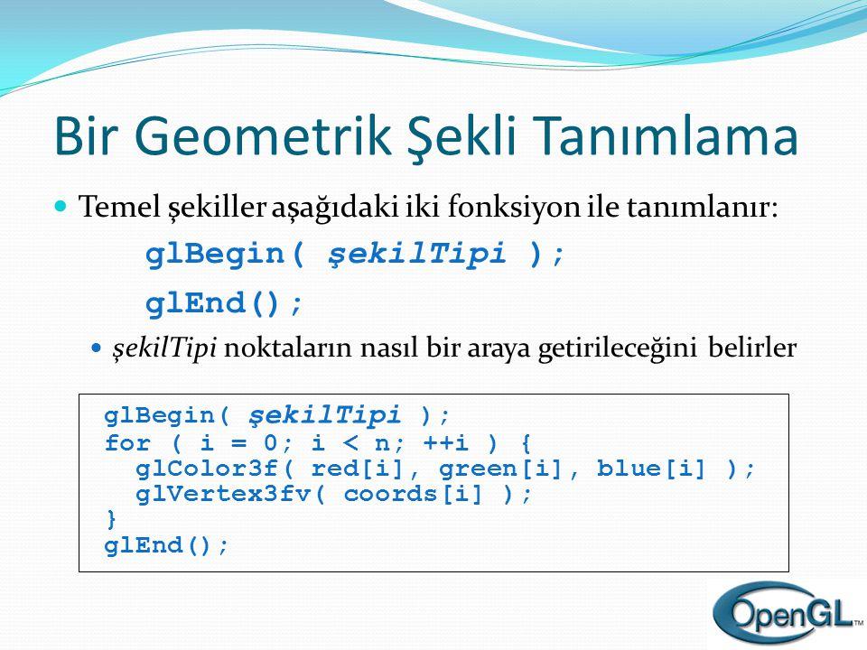Bir Geometrik Şekli Tanımlama  Temel şekiller aşağıdaki iki fonksiyon ile tanımlanır: glBegin( şekilTipi ); glEnd();  şekilTipi noktaların nasıl bir