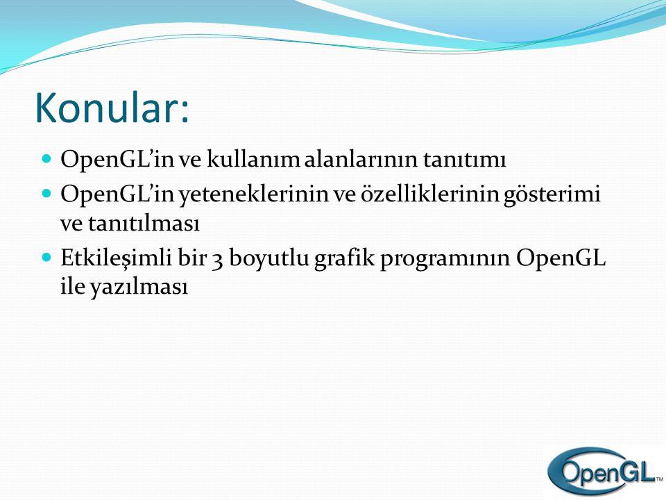 Bir OpenGL Programı (devam) void display( void ) { int i, j; glClear( GL_COLOR_BUFFER_BIT | GL_DEPTH_BUFFER_BIT ); glBegin( GL_QUADS ); for ( i = 0; i < NUM_CUBE_FACES; ++i ) { glColor3fv( faceColor[i] ); for ( j = 0; j < NUM_VERTICES_PER_FACE; ++j ) { glVertex3fv( vertex[face[i][j]] ); } glEnd(); glFlush(); } OpenGL 3D noktalardan (vertices) bir küp çizer.