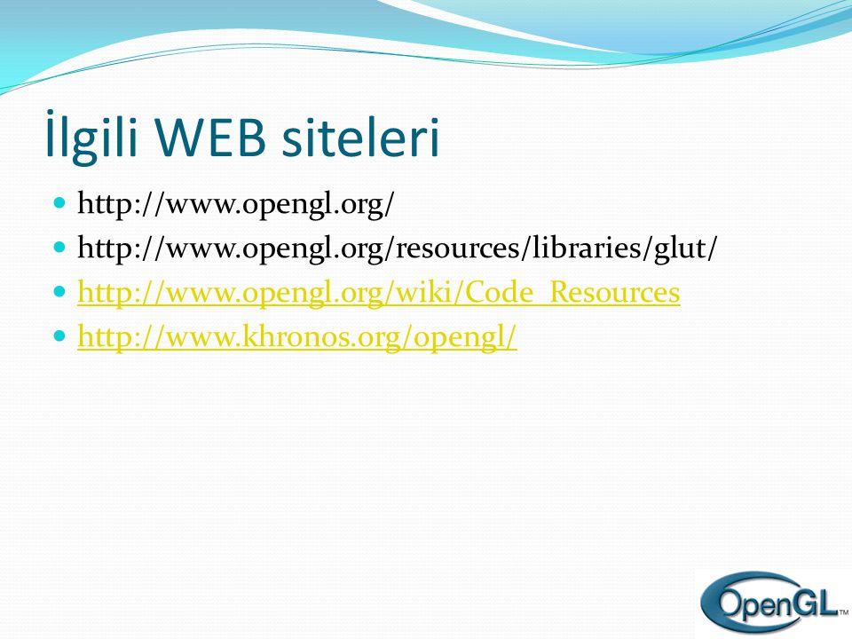 İlgili WEB siteleri  http://www.opengl.org/  http://www.opengl.org/resources/libraries/glut/  http://www.opengl.org/wiki/Code_Resources http://www.