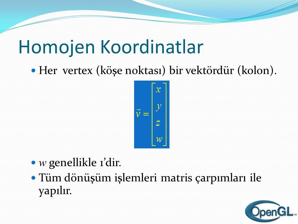 Homojen Koordinatlar  Her vertex (köşe noktası) bir vektördür (kolon).  w genellikle 1'dir.  Tüm dönüşüm işlemleri matris çarpımları ile yapılır.