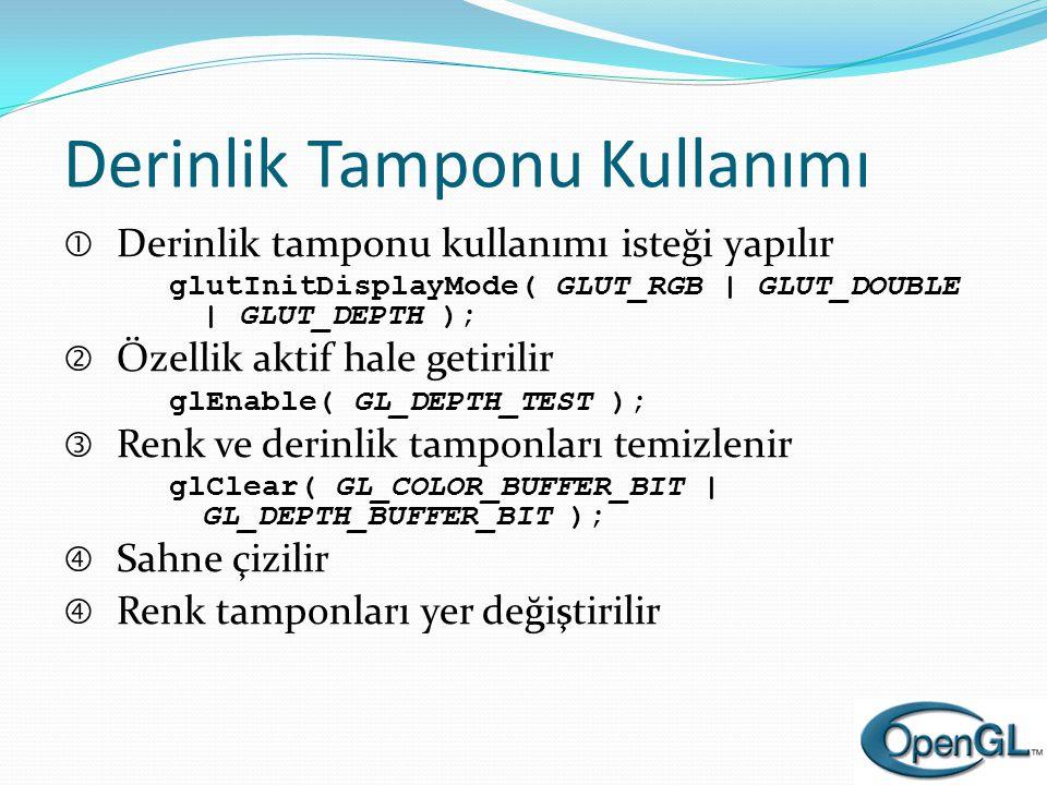 Derinlik Tamponu Kullanımı  Derinlik tamponu kullanımı isteği yapılır glutInitDisplayMode( GLUT_RGB | GLUT_DOUBLE | GLUT_DEPTH );  Özellik aktif hal