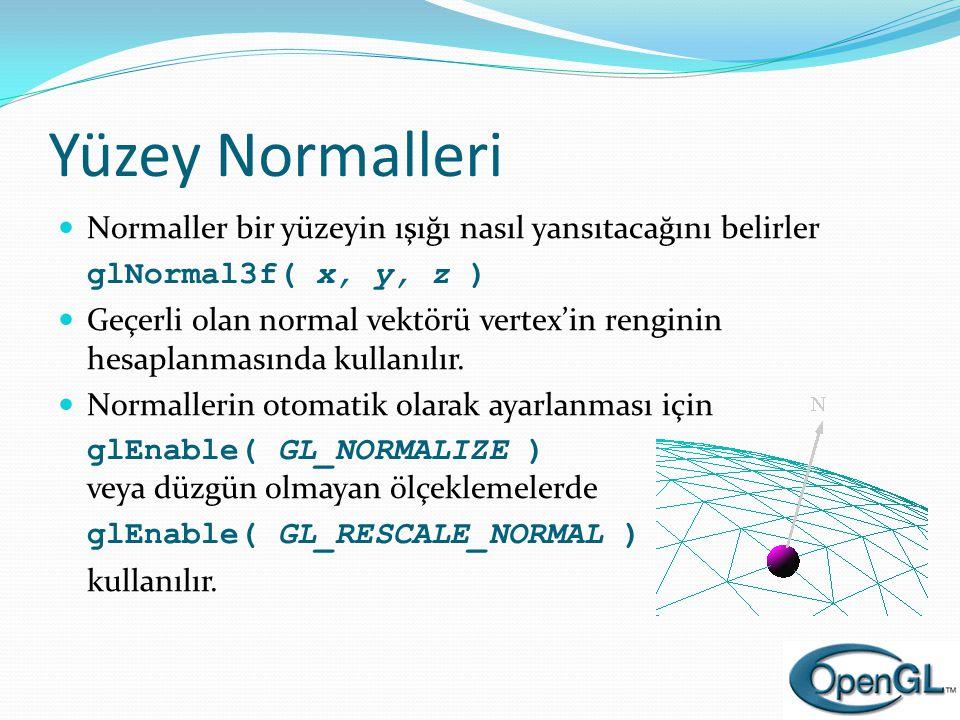 Yüzey Normalleri  Normaller bir yüzeyin ışığı nasıl yansıtacağını belirler glNormal3f( x, y, z )  Geçerli olan normal vektörü vertex'in renginin hes