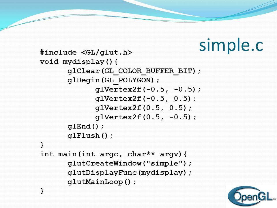 Olay Döngüsü  Her GLUT programı bir gösterim fonksiyonu içerir.