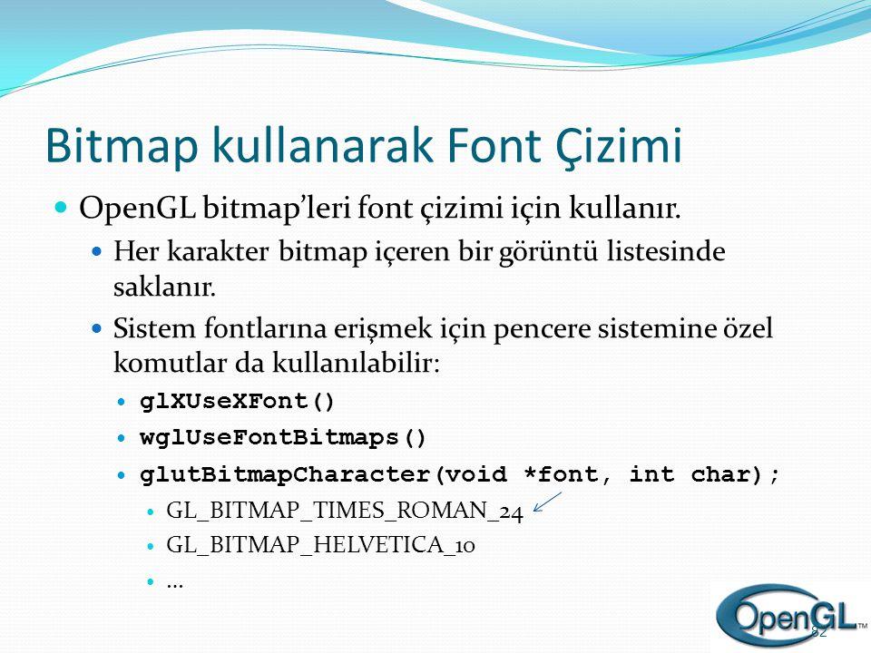 Bitmap kullanarak Font Çizimi  OpenGL bitmap'leri font çizimi için kullanır.  Her karakter bitmap içeren bir görüntü listesinde saklanır.  Sistem f