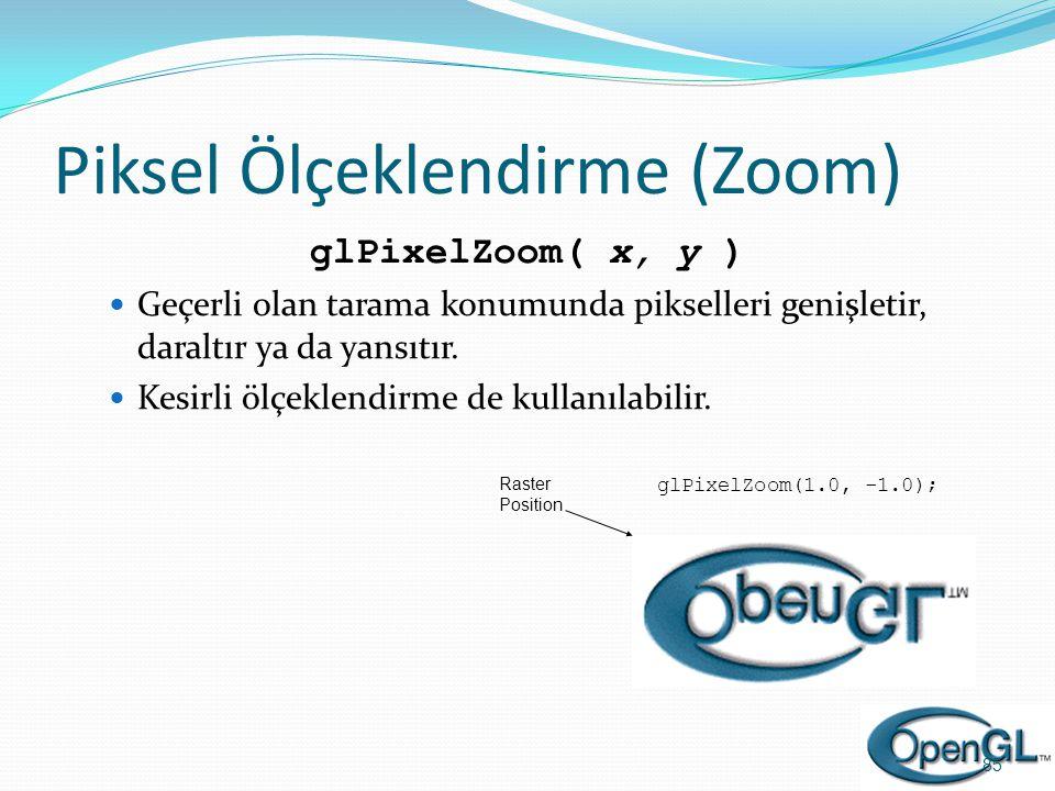Piksel Ölçeklendirme (Zoom) glPixelZoom( x, y )  Geçerli olan tarama konumunda pikselleri genişletir, daraltır ya da yansıtır.  Kesirli ölçeklendirm