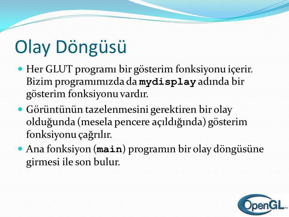Olay Döngüsü  Her GLUT programı bir gösterim fonksiyonu içerir. Bizim programımızda da mydisplay adında bir gösterim fonksiyonu vardır.  Görüntünün