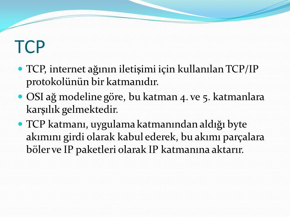 TCP  TCP, internet ağının iletişimi için kullanılan TCP/IP protokolünün bir katmanıdır.  OSI ağ modeline göre, bu katman 4. ve 5. katmanlara karşılı