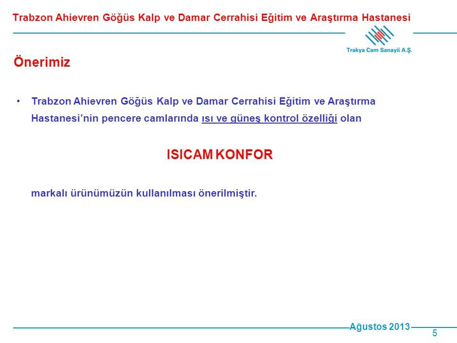 Ağustos 2013 5 •Trabzon Ahievren Göğüs Kalp ve Damar Cerrahisi Eğitim ve Araştırma Hastanesi'nin pencere camlarında ısı ve güneş kontrol özelliği olan ISICAM KONFOR markalı ürünümüzün kullanılması önerilmiştir.