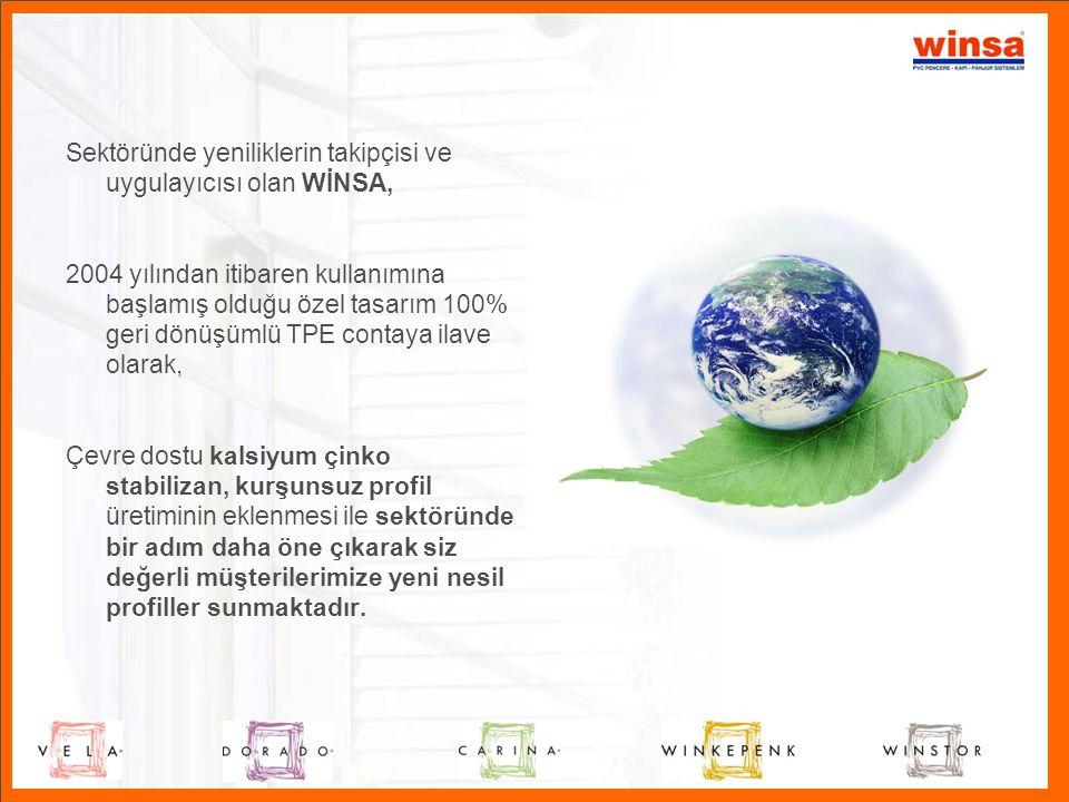 Sektöründe yeniliklerin takipçisi ve uygulayıcısı olan WİNSA, 2004 yılından itibaren kullanımına başlamış olduğu özel tasarım 100% geri dönüşümlü TPE