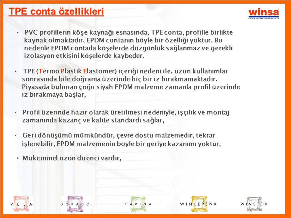 TPE conta özellikleri P • PVC profillerin köşe kaynağı esnasında, TPE conta, profille birlikte kaynak olmaktadır, EPDM contanın böyle bir özelliği yok