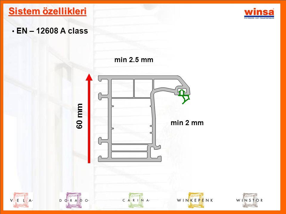 Sistem özellikleri • EN – 12608 A class 60 mm min 2.5 mm min 2 mm