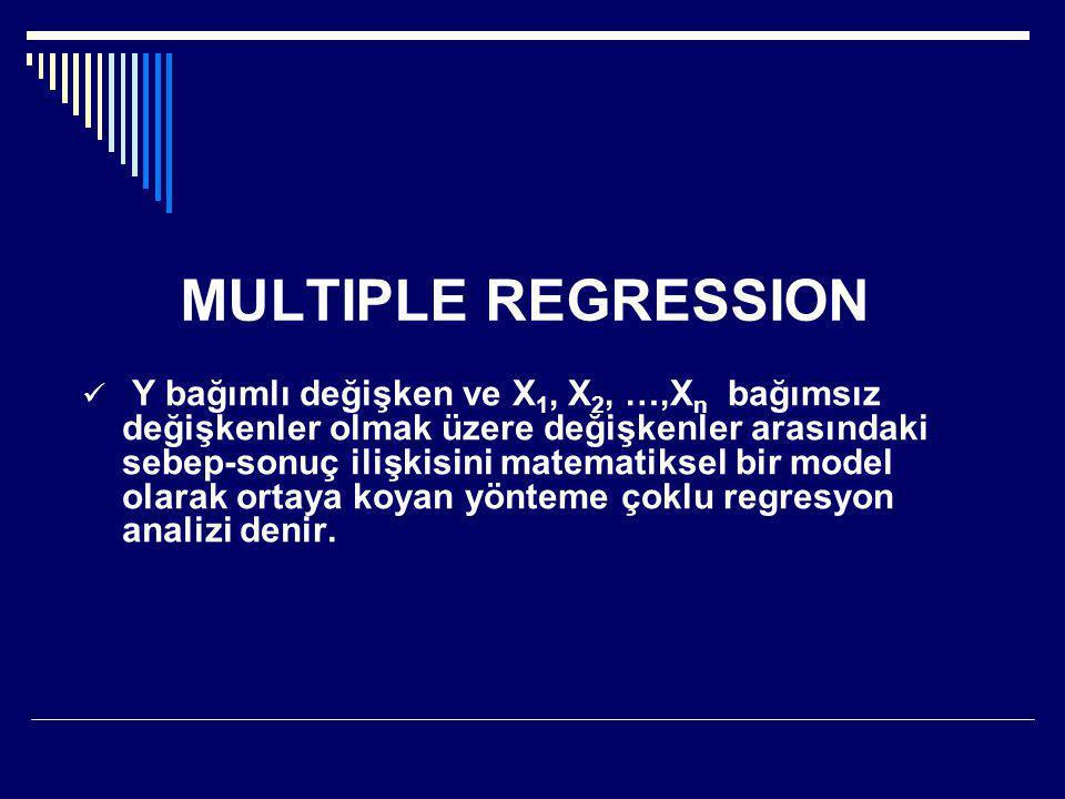 MULTIPLE REGRESSION  Y bağımlı değişken ve X 1, X 2, …,X n bağımsız değişkenler olmak üzere değişkenler arasındaki sebep-sonuç ilişkisini matematiksel bir model olarak ortaya koyan yönteme çoklu regresyon analizi denir.