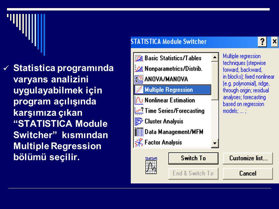 """ Statistica programında varyans analizini uygulayabilmek için program açılışında karşımıza çıkan """"STATISTICA Module Switcher"""" kısmından Multiple Regr"""